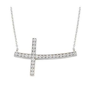 Sterling Silver w/Crystals Sideways Cross Necklace